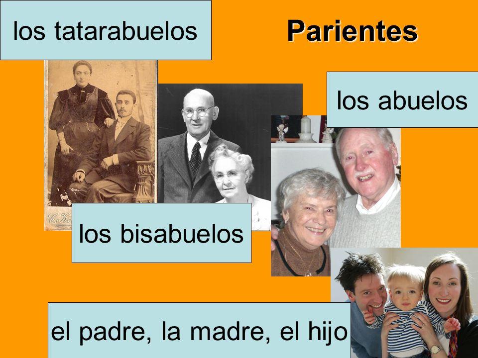 Parientes el padre, la madre, el hijo los abuelos los bisabuelos los tatarabuelos