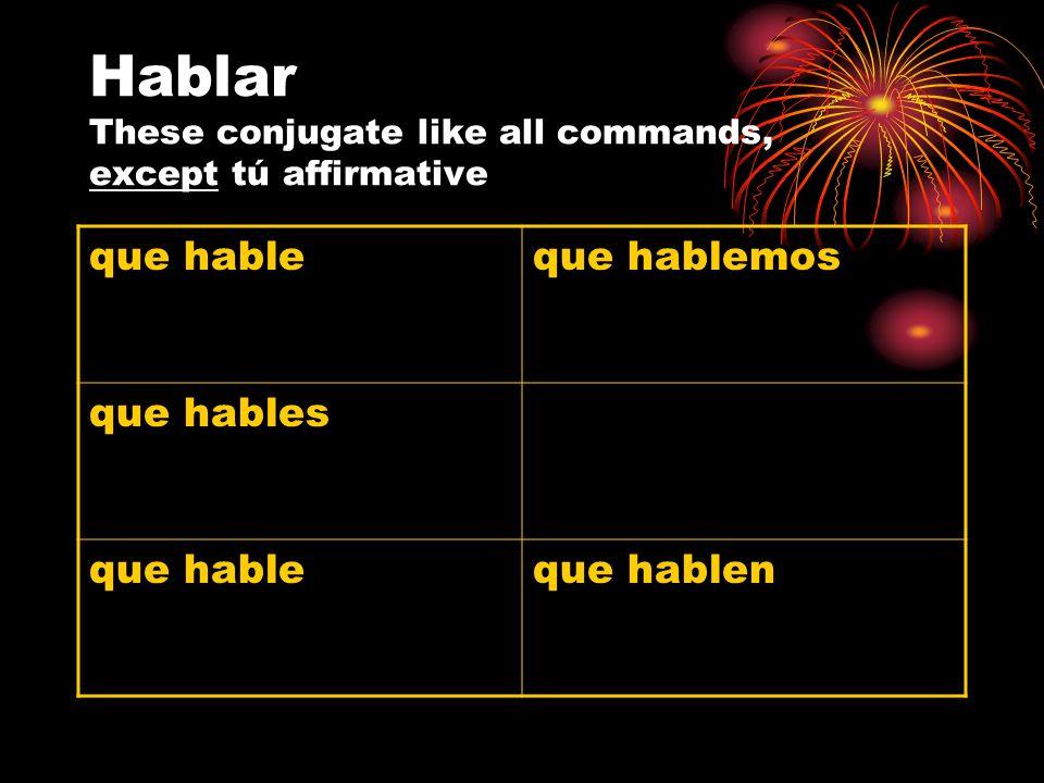 Hablar These conjugate like all commands, except tú affirmative que hableque hablemos que hables que hableque hablen