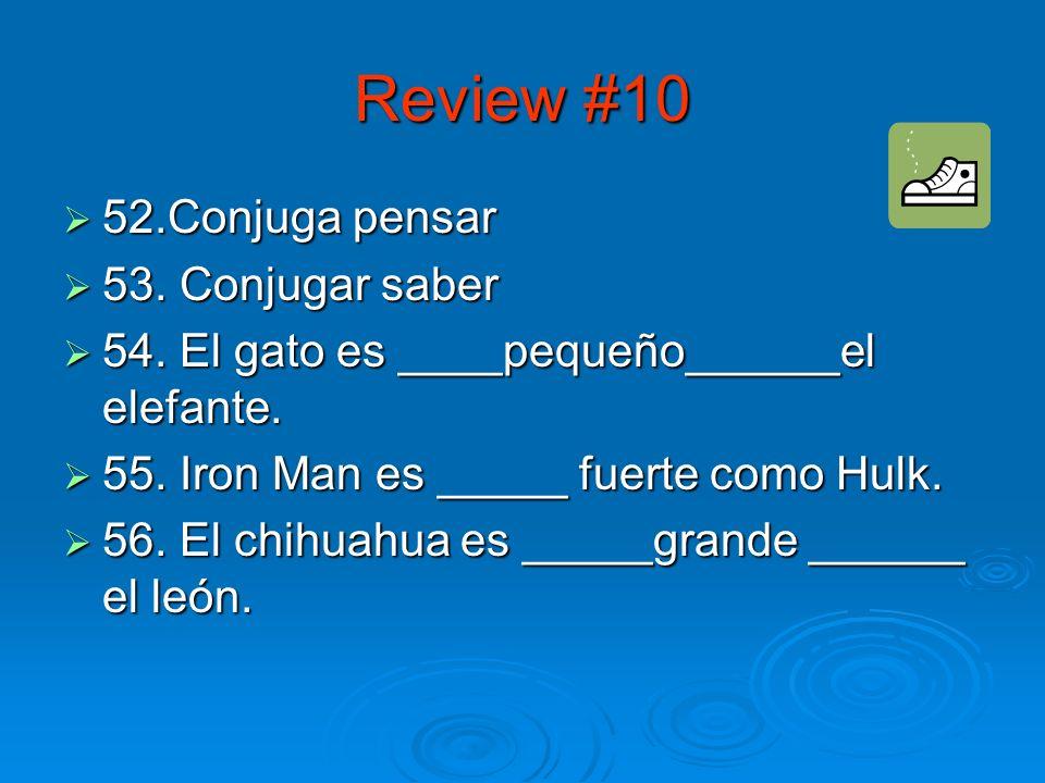 Review #9 47. La plaza más grande de México se llama el_______. 47. La plaza más grande de México se llama el_______. 48. ¿Qué tipo de verbo es hacer?
