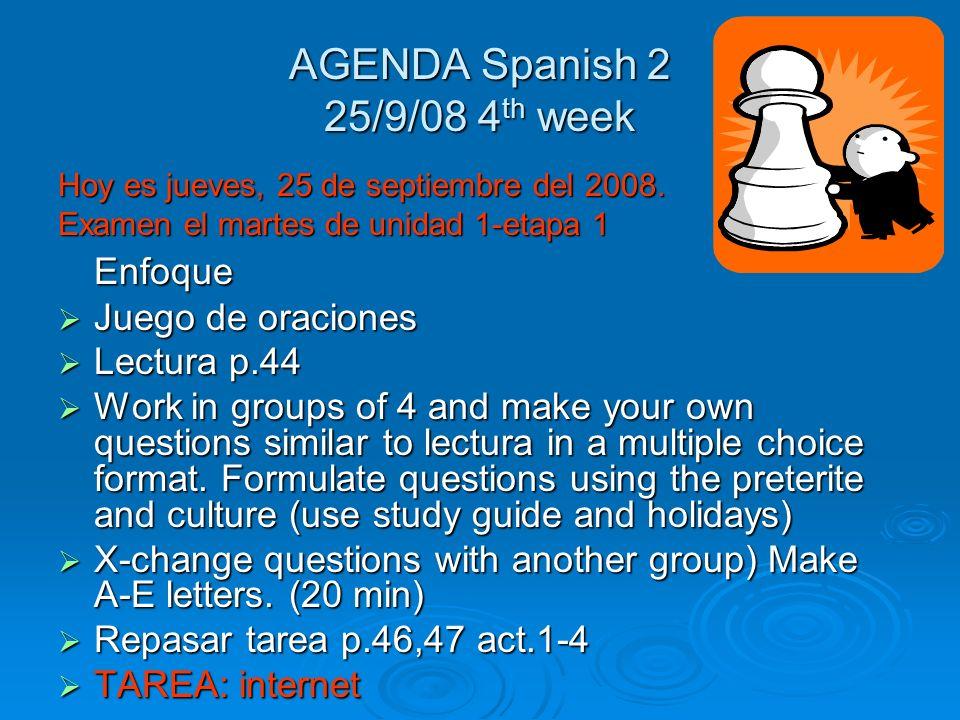 Respuestas Act. #12 (p.41) 1. vi 2. fue 3. hicimos 4. hizo 5. dio 6. fuiste