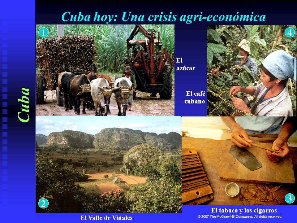 Cuba hoy: Una crisis agri-económica Cuba © 2007 The McGraw-Hill Companies. All rights reserved. El tabaco y los cigarros El café cubano El azúcar El V