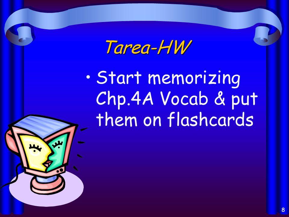 8 Tarea-HW Start memorizing Chp.4A Vocab & put them on flashcards