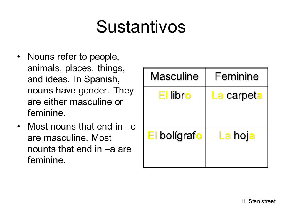 H. Stanistreet Sustantivos Nouns refer to people, animals, places, things, and ideas. In Spanish, nouns have gender. They are either masculine or femi