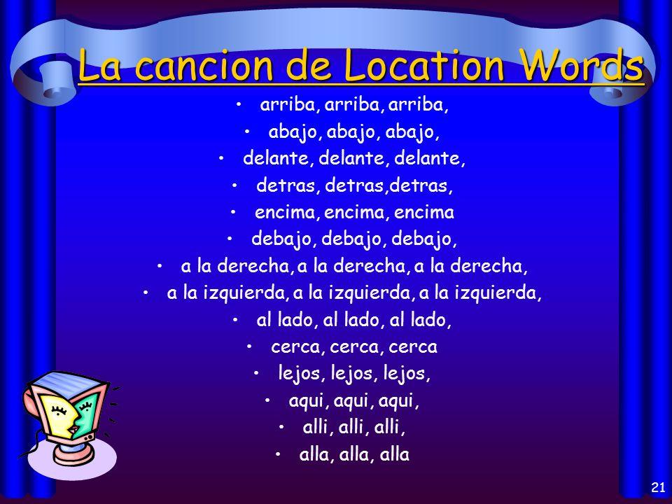 20 ESTAR + Location: A la derecha de- to the right of A la izquierda de- to the left of Al lado de- To the side of/Next to Enfrente/Delante de- in fro