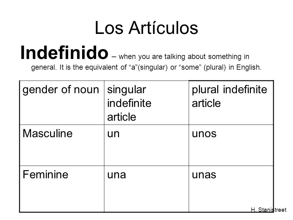H. Stanistreet Los Artículos Indefinido – when you are talking about something in general. It is the equivalent of a(singular) or some (plural) in Eng