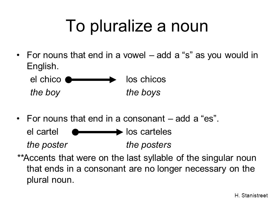 H. Stanistreet To pluralize a noun For nouns that end in a vowel – add a s as you would in English. el chicolos chicos the boythe boys For nouns that