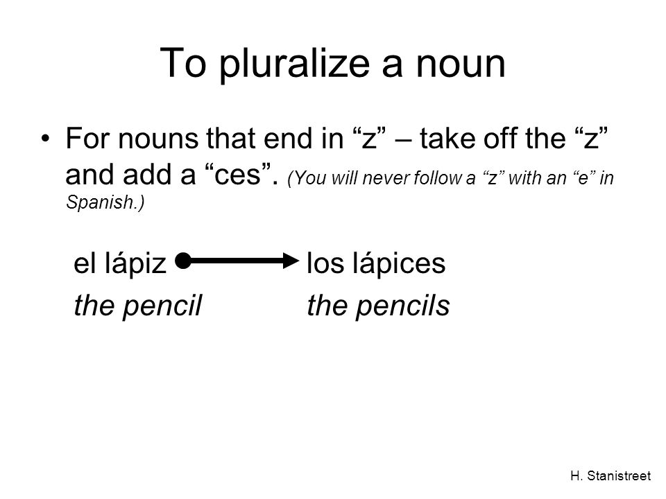 H. Stanistreet To pluralize a noun For nouns that end in z – take off the z and add a ces. (You will never follow a z with an e in Spanish.) el lápizl