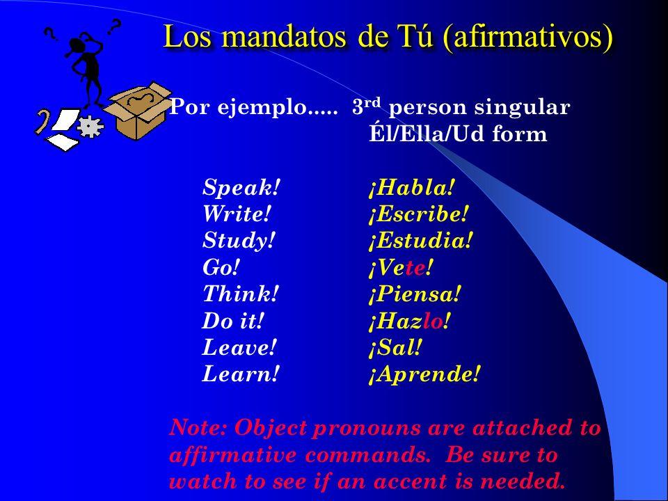 Los mandatos de Tú (afirmativos) Por ejemplo.....