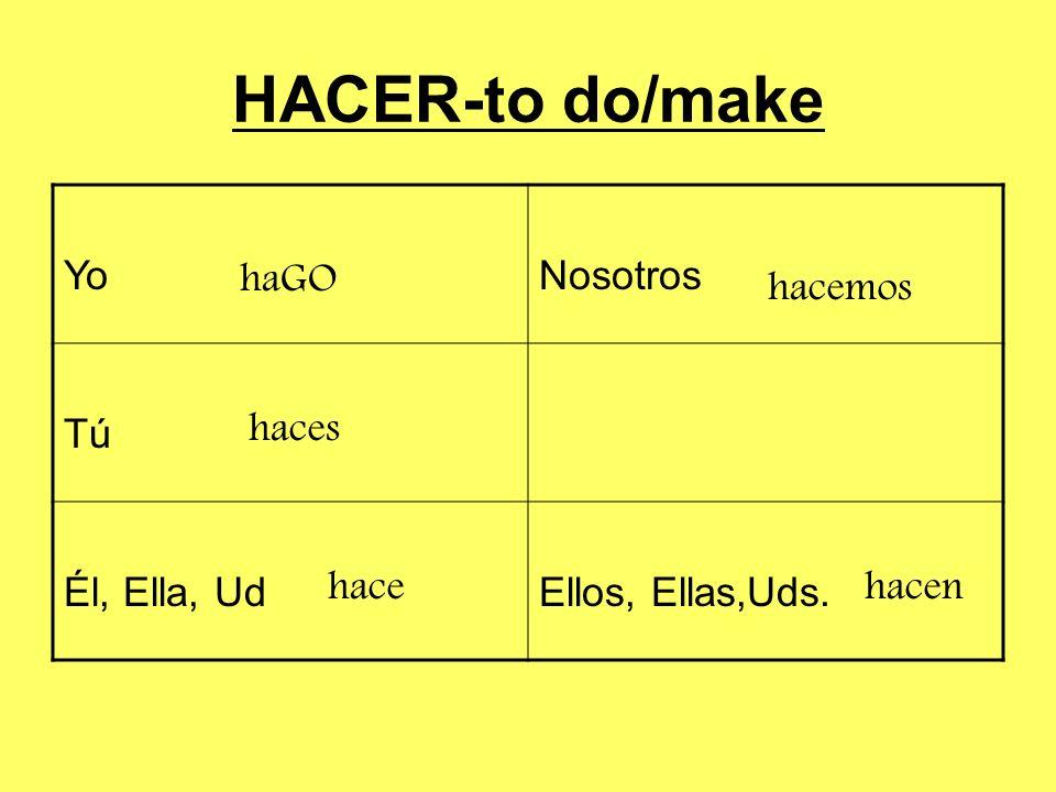 HACER-to do/make YoNosotros TúTú Él, Ella, UdEllos, Ellas,Uds. haGO haces hace hacemos hacen