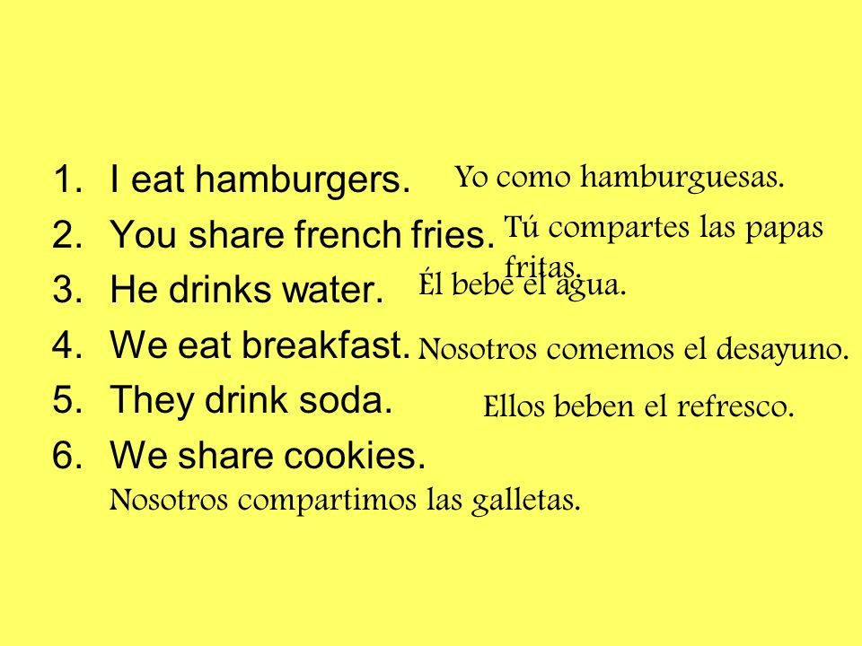 1.I eat hamburgers. 2.You share french fries. 3.He drinks water. 4.We eat breakfast. 5.They drink soda. 6.We share cookies. Yo como hamburguesas. Tú c