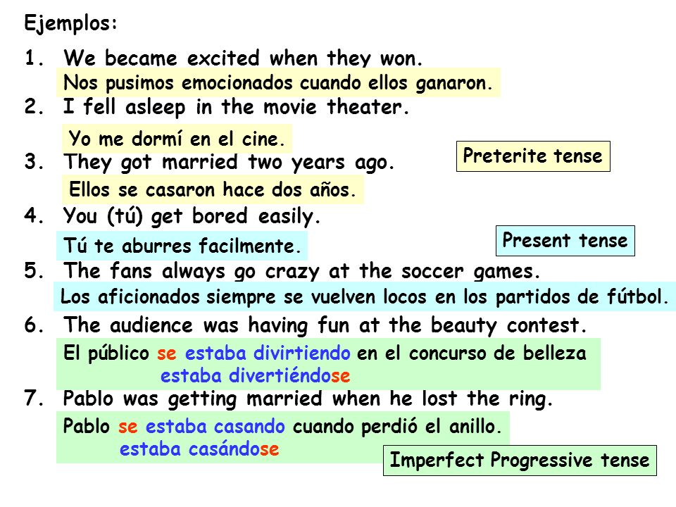 Ejemplos: 1. We became excited when they won. 2. I fell asleep in the movie theater. 3. They got married two years ago. 4. You (tú) get bored easily.