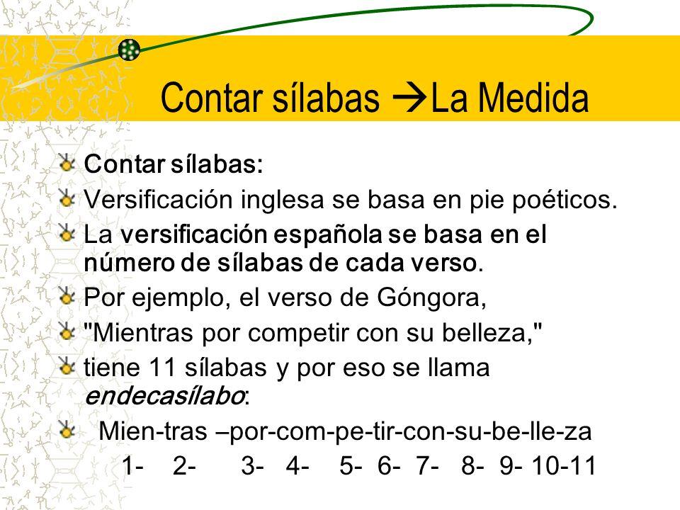 Contar sílabas La Medida Contar sílabas: Versificación inglesa se basa en pie poéticos. La versificación española se basa en el número de sílabas de c