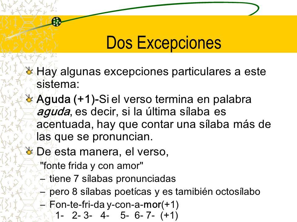 Dos Excepciones Hay algunas excepciones particulares a este sistema: Aguda (+1)-Si el verso termina en palabra aguda, es decir, si la última sílaba es