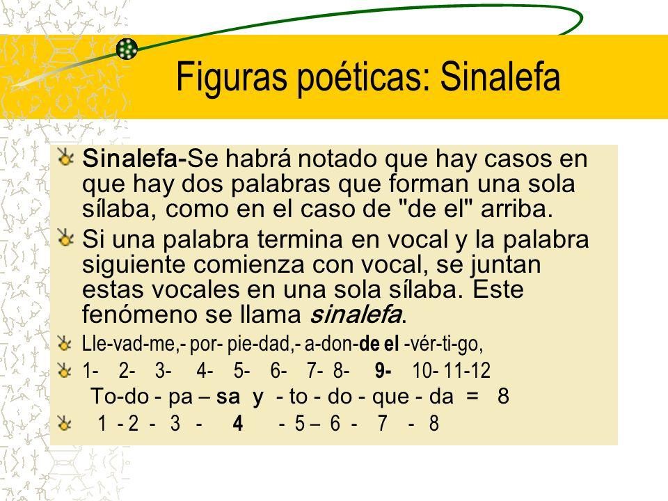 Figuras poéticas: Sinalefa Sinalefa-Se habrá notado que hay casos en que hay dos palabras que forman una sola sílaba, como en el caso de