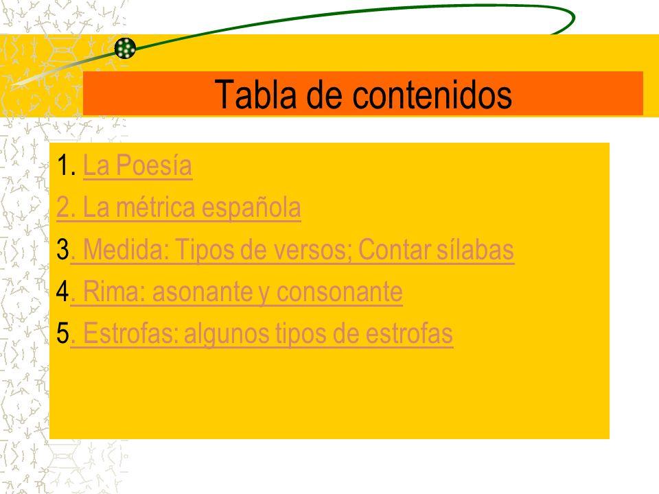 Tabla de contenidos 1. La PoesíaLa Poesía 2. La métrica española 3. Medida: Tipos de versos; Contar sílabas. Medida: Tipos de versos; Contar sílabas 4