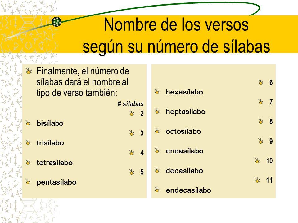 Nombre de los versos según su número de sílabas Finalmente, el número de sílabas dará el nombre al tipo de verso también: # sílabas 2 bisílabo 3 trisí