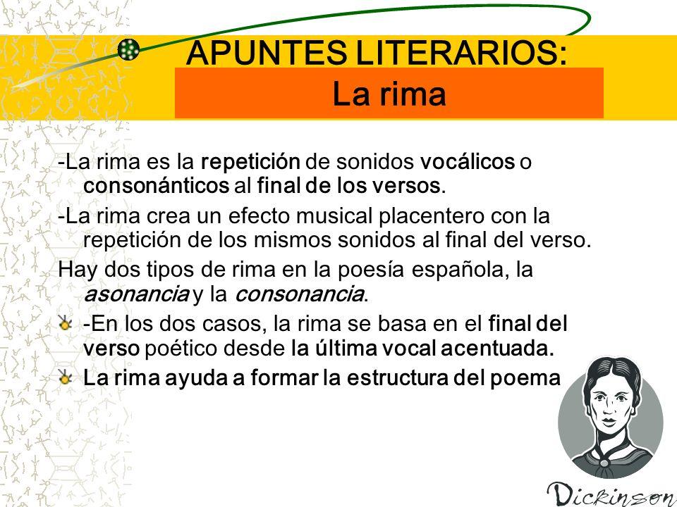APUNTES LITERARIOS: La rima -La rima es la repetición de sonidos vocálicos o consonánticos al final de los versos. -La rima crea un efecto musical pla