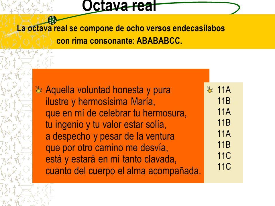 Octava real La octava real se compone de ocho versos endecasílabos con rima consonante: ABABABCC. Aquella voluntad honesta y pura ilustre y hermosísim