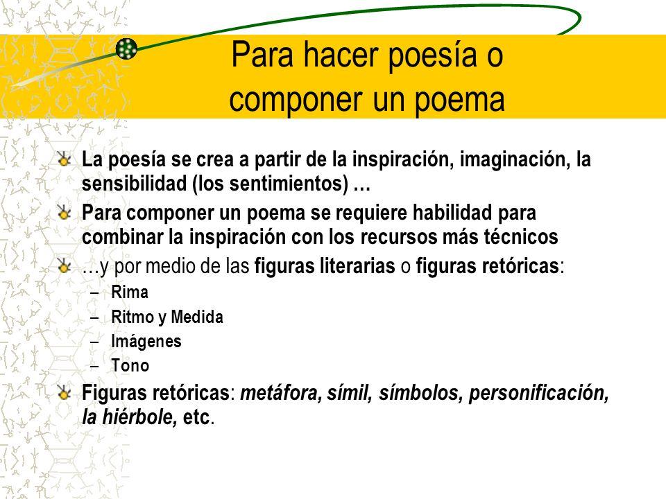 Para hacer poesía o componer un poema La poesía se crea a partir de la inspiración, imaginación, la sensibilidad (los sentimientos) … Para componer un