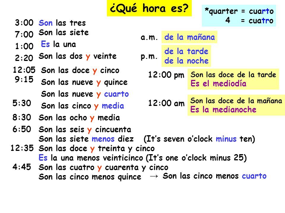 ¿Qué hora es? 3:00Son las tres 2:20 Son las siete Son las dos y veinte 12:05Son las doce y cinco 7:00 1:00 Es la una 9:15 Son las nueve y quince Son l