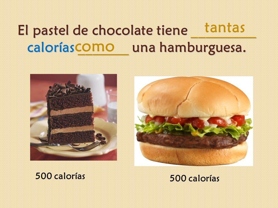 El pastel de chocolate tiene _________ calorías _______ una hamburguesa. 500 calorías tantas como