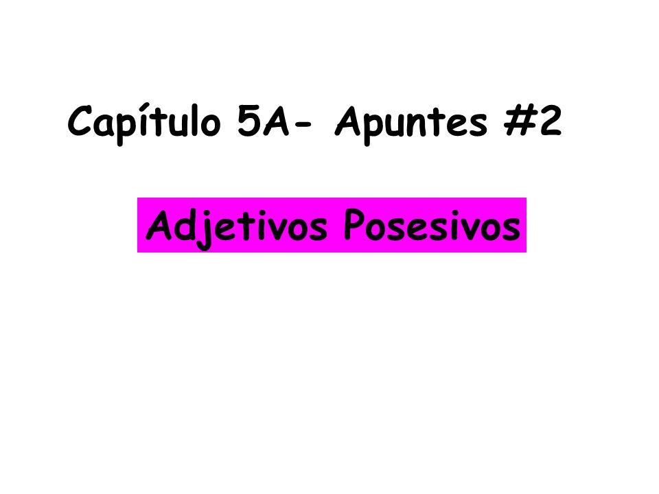 Capítulo 5A- Apuntes #2 Adjetivos Posesivos