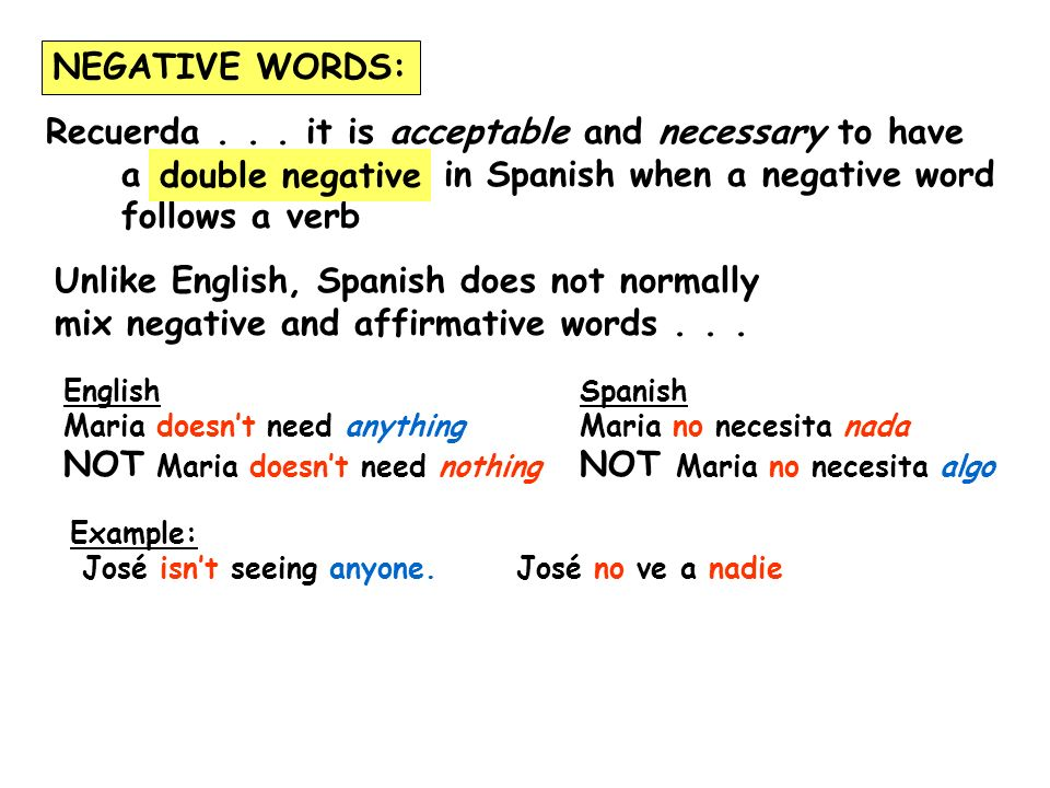 Recuerda... it is acceptable and necessary to have a in Spanish when a negative word follows a verb double negative NEGATIVE WORDS: Unlike English, Sp