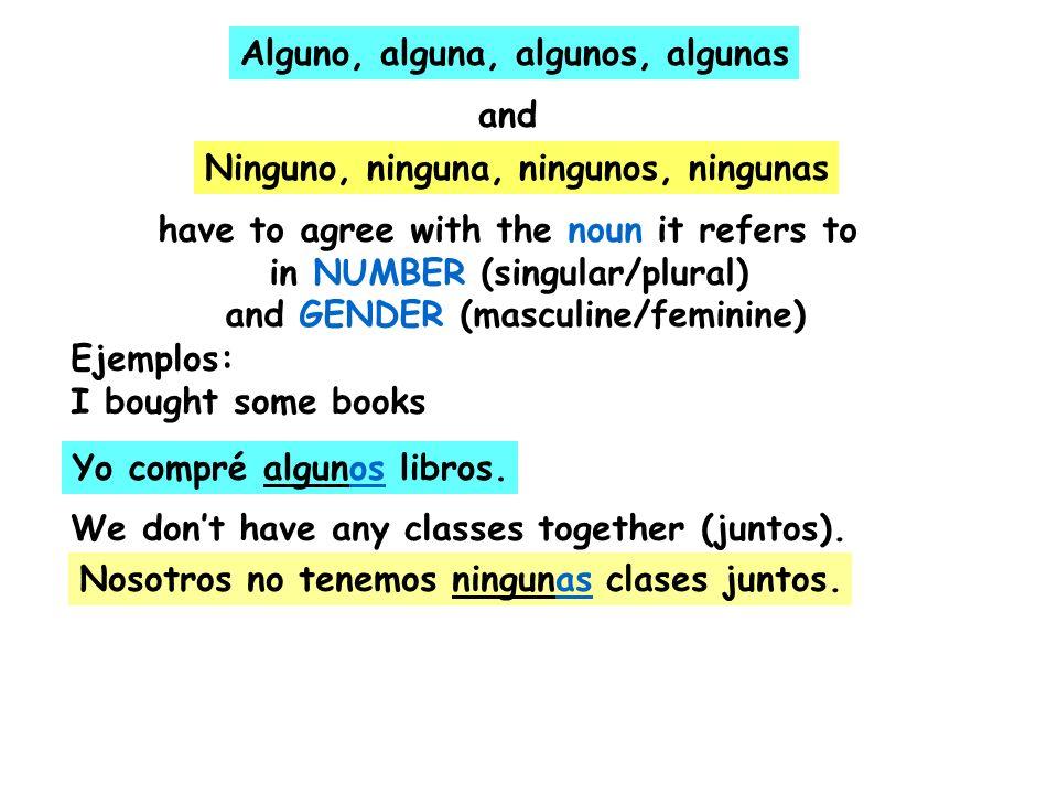 Alguno, alguna, algunos, algunas and Ninguno, ninguna, ningunos, ningunas have to agree with the noun it refers to in NUMBER (singular/plural) and GEN