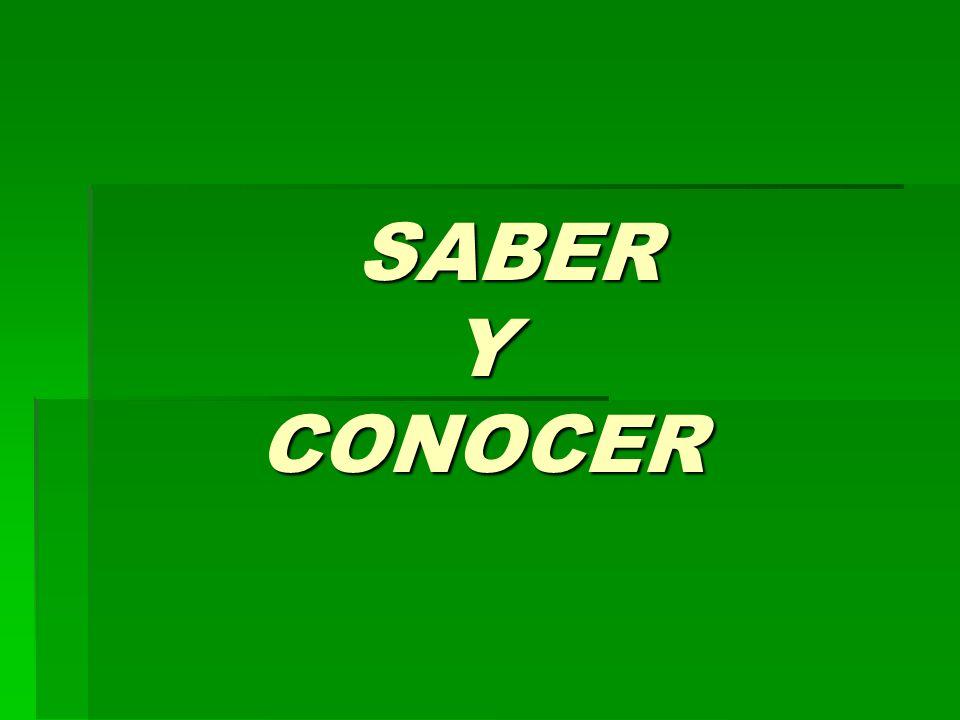 SABER sé sabes sabe sabemos (sabéis) saben The verb saber is irregular in its yo form.