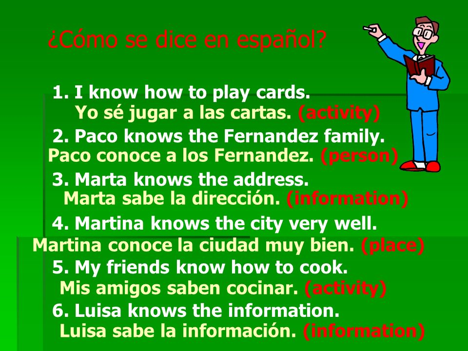 ¿Cómo se dice en español.1. I know how to play cards.