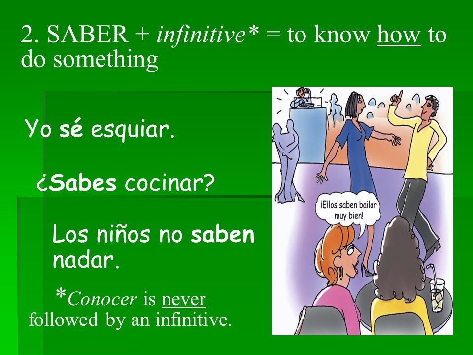 3.SABER is often followed by a question word.* Sabemos quién es David Beckham.