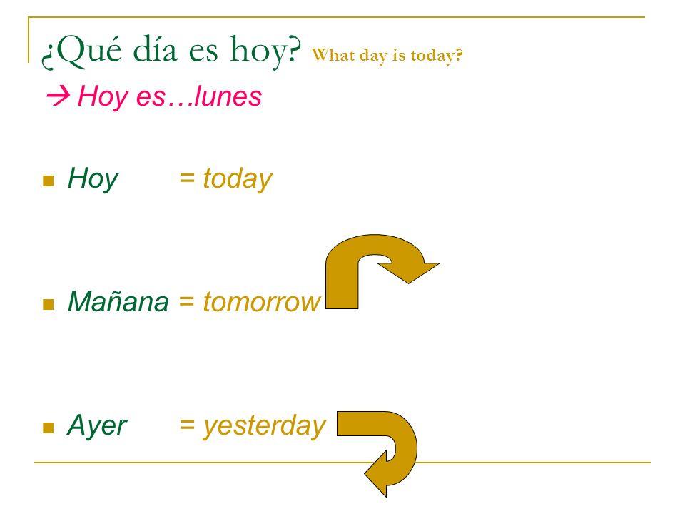 ¿Qué día es hoy? What day is today? Hoy es…lunes Hoy = today Mañana = tomorrow Ayer= yesterday