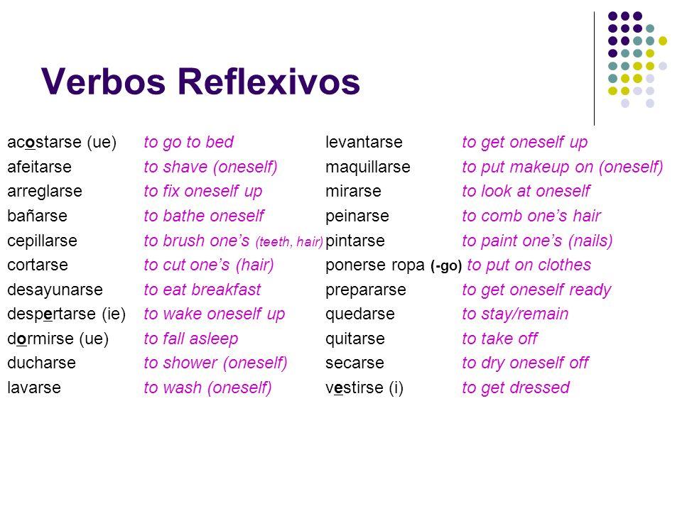 Verbos Reflexivos acostarse (ue) to go to bed afeitarse to shave (oneself) arreglarseto fix oneself up bañarse to bathe oneself cepillarse to brush on
