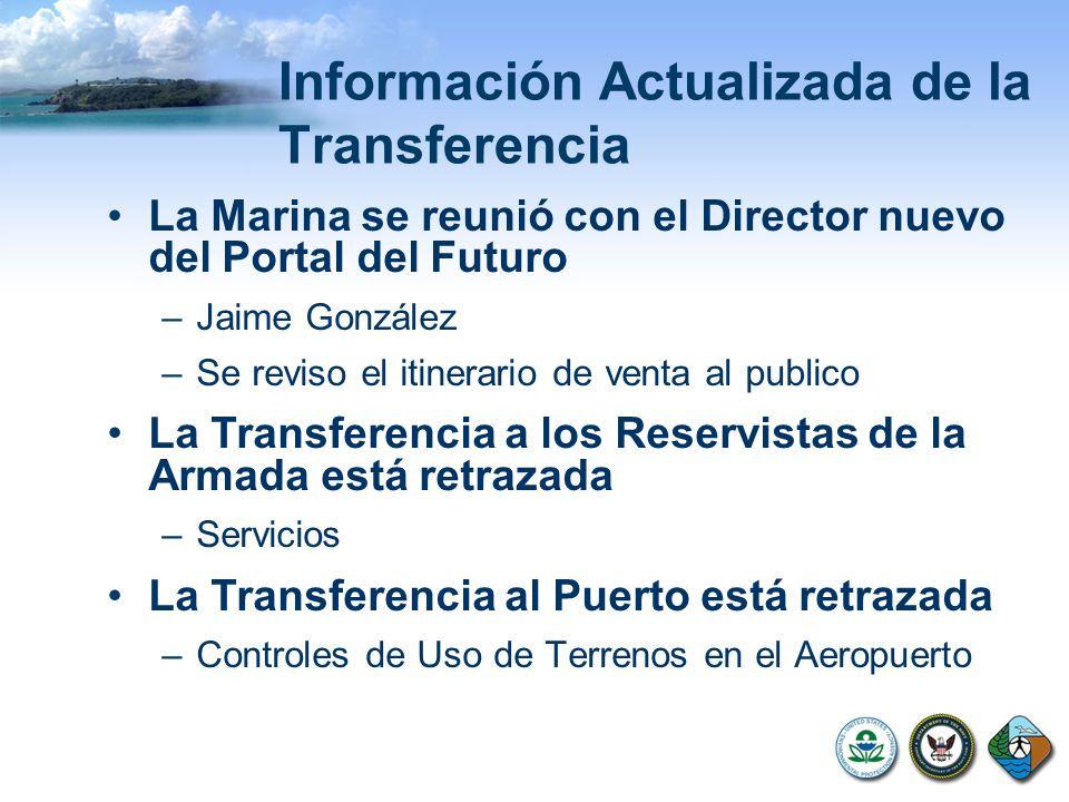 Información Actualizada de la Transferencia La Marina se reunió con el Director nuevo del Portal del Futuro –Jaime González –Se reviso el itinerario de venta al publico La Transferencia a los Reservistas de la Armada está retrazada –Servicios La Transferencia al Puerto está retrazada –Controles de Uso de Terrenos en el Aeropuerto
