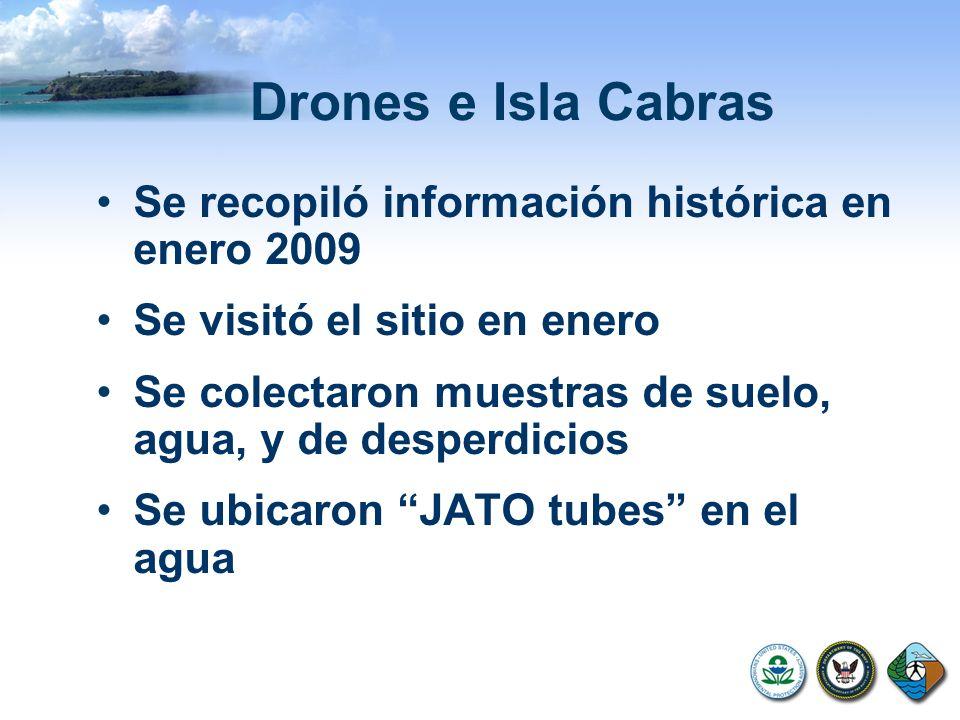 Drones e Isla Cabras Se recopiló información histórica en enero 2009 Se visitó el sitio en enero Se colectaron muestras de suelo, agua, y de desperdicios Se ubicaron JATO tubes en el agua
