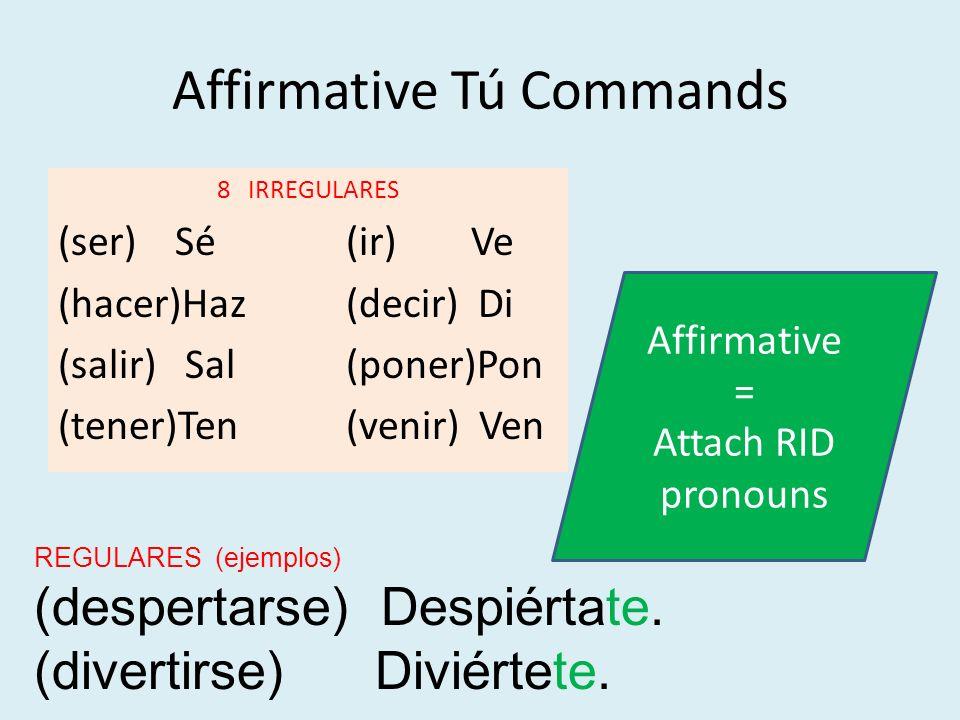 Affirmative Tú Commands 8 IRREGULARES (ser) Sé(ir) Ve (hacer)Haz(decir) Di (salir) Sal(poner)Pon (tener)Ten(venir) Ven REGULARES (ejemplos) (despertar