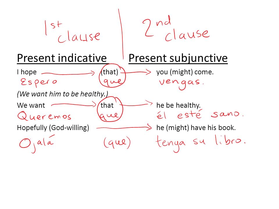 Present indicative Present subjunctive I hope (that)you (might) come. (We want him to be healthy.) We wantthat he be healthy. Hopefully (God-willing)h