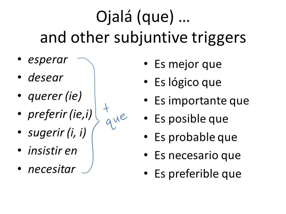 Ojalá (que) … and other subjuntive triggers esperar desear querer (ie) preferir (ie,i) sugerir (i, i) insistir en necesitar Es mejor que Es lógico que
