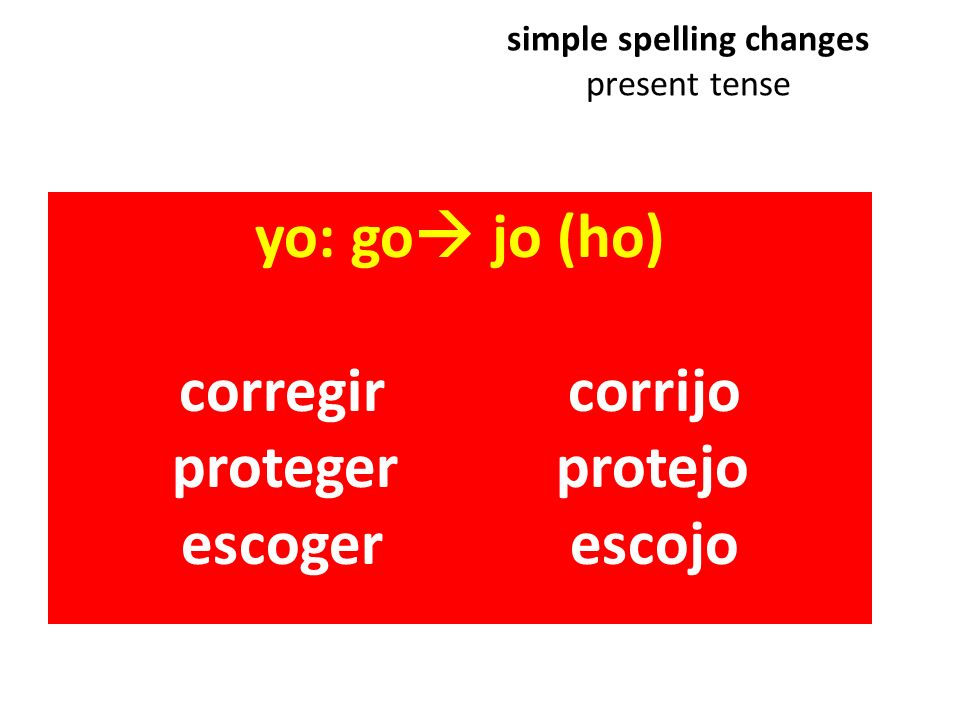 simple spelling changes present tense yo:go jo (ho) corregir corrijo proteger protejo escoger escojo