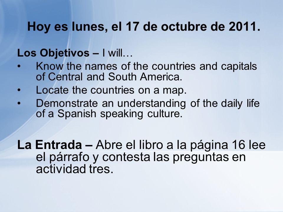 Antes de Salir… La Salida – Abre el libro a la página SH39 y escribe la capital o el país y corresponde con la siguiente lista.