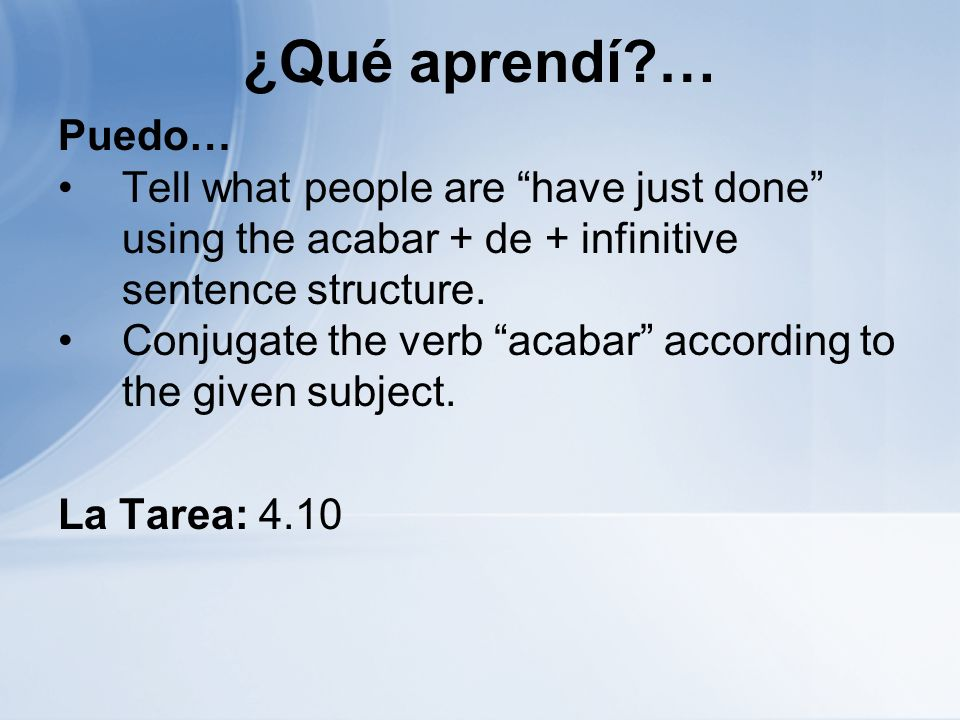 ¿Qué aprendí … Puedo… Tell what people are have just done using the acabar + de + infinitive sentence structure.