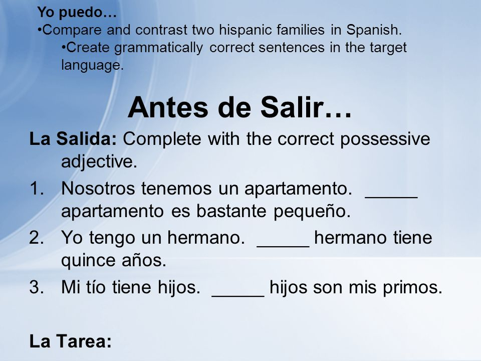 Antes de Salir… La Salida: Complete with the correct possessive adjective.