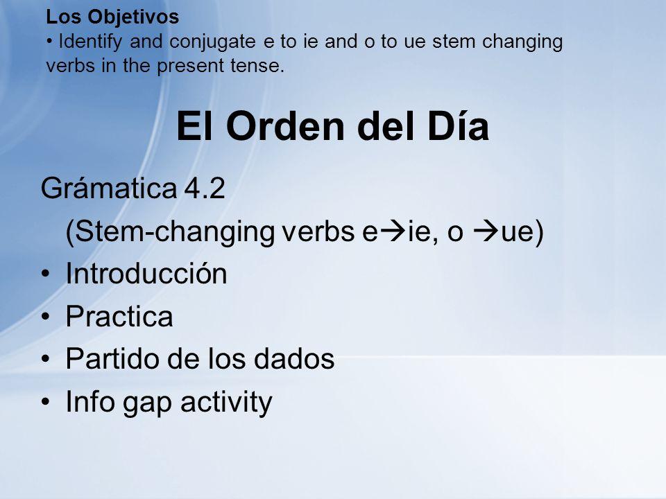 El Orden del Día Grámatica 4.2 (Stem-changing verbs e ie, o ue) Introducción Practica Partido de los dados Info gap activity Los Objetivos Identify an