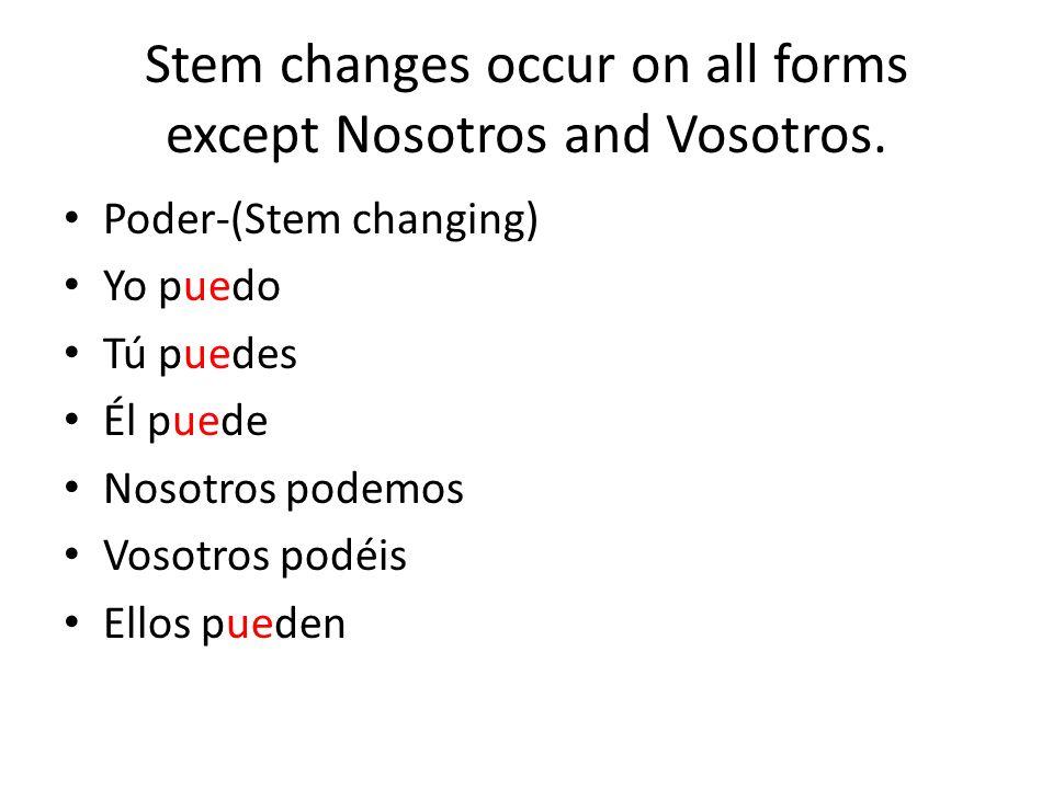 Stem changes occur on all forms except Nosotros and Vosotros.