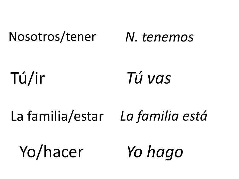 Nosotros/tener N. tenemos Tú/ir Tú vas La familia/estar La familia está Yo/hacerYo hago