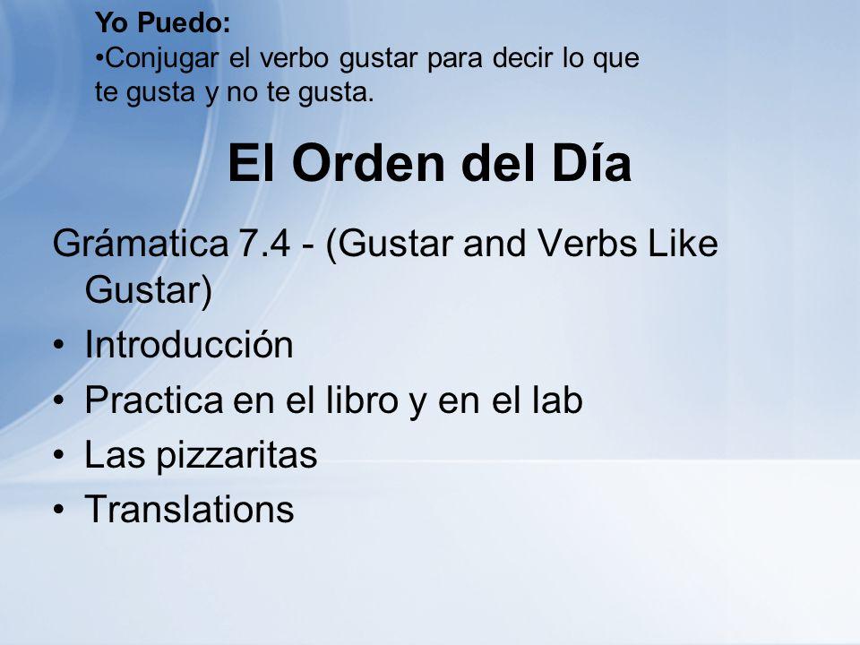 El Orden del Día Grámatica 7.4 - (Gustar and Verbs Like Gustar) Introducción Practica en el libro y en el lab Las pizzaritas Translations Yo Puedo: Co