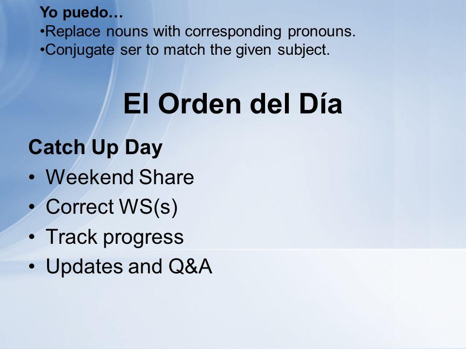 Antes de Salir… La Salida – Write the form of ser that matches each subject.
