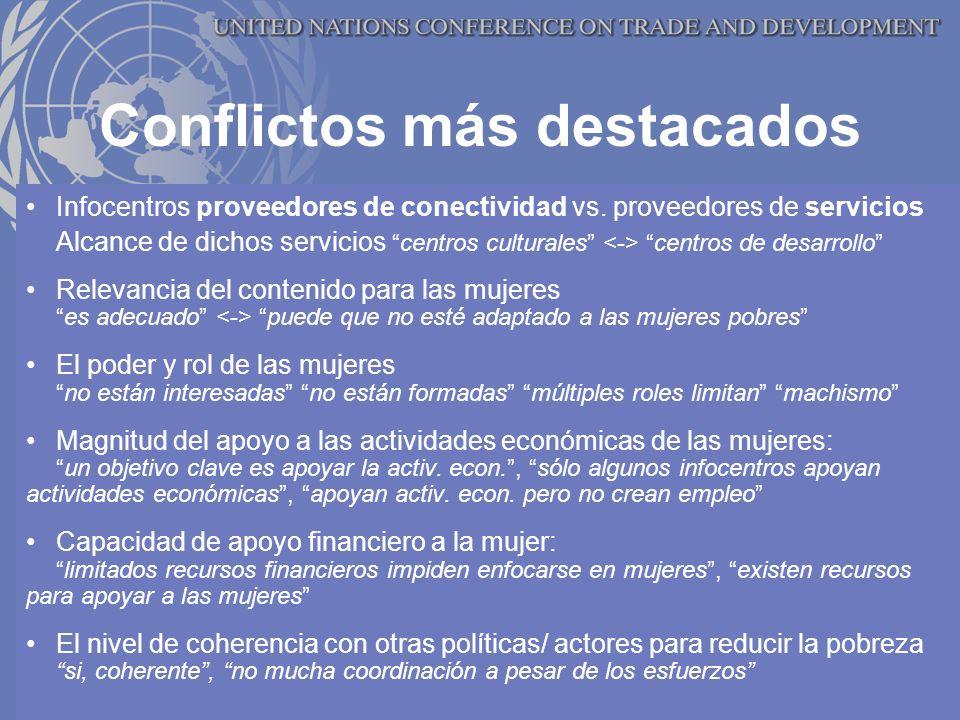 Conflictos más destacados Infocentros proveedores de conectividad vs.