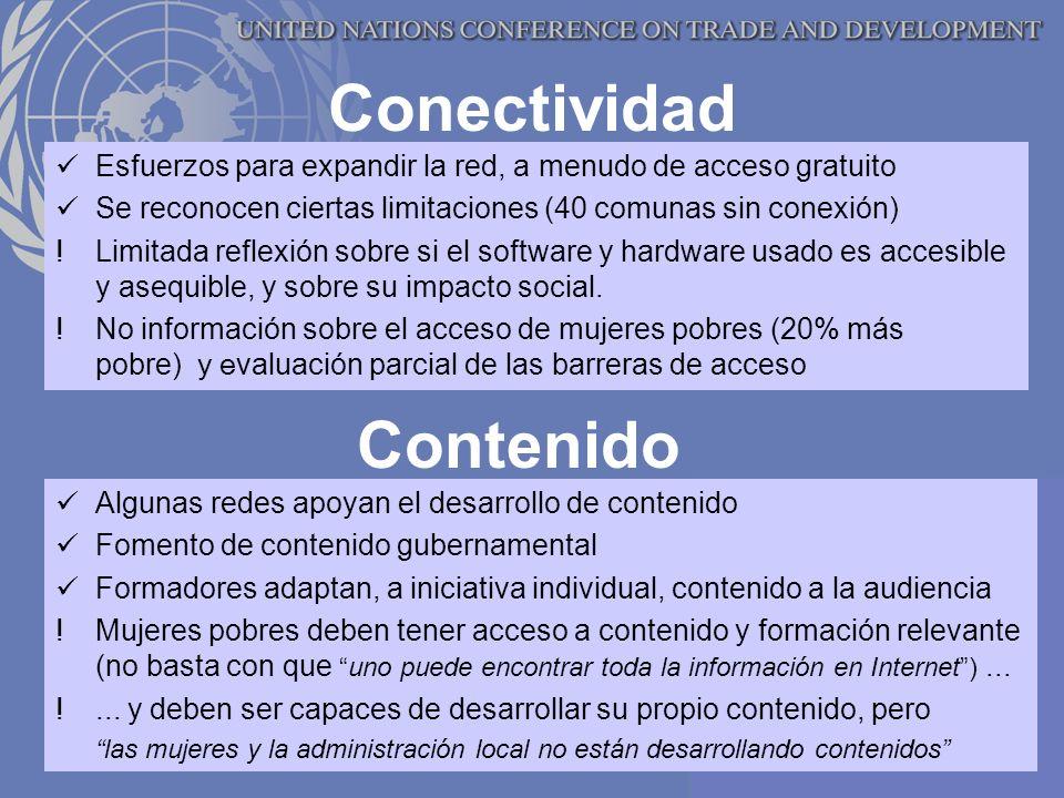 Conectividad Esfuerzos para expandir la red, a menudo de acceso gratuito Se reconocen ciertas limitaciones (40 comunas sin conexión) !Limitada reflexión sobre si el software y hardware usado es accesible y asequible, y sobre su impacto social.