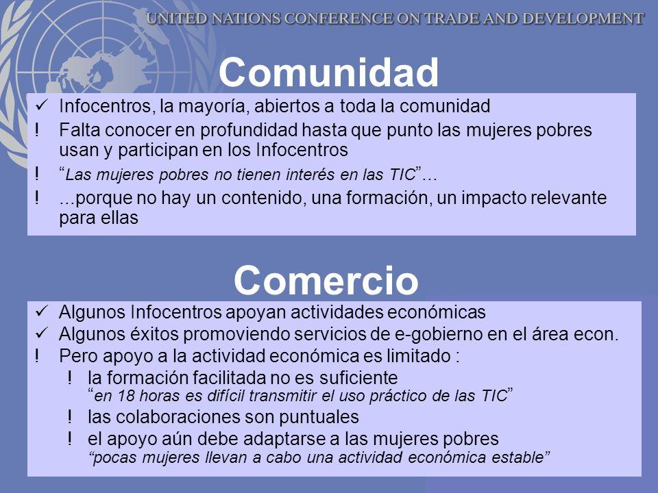 Comunidad Infocentros, la mayoría, abiertos a toda la comunidad !Falta conocer en profundidad hasta que punto las mujeres pobres usan y participan en los Infocentros .